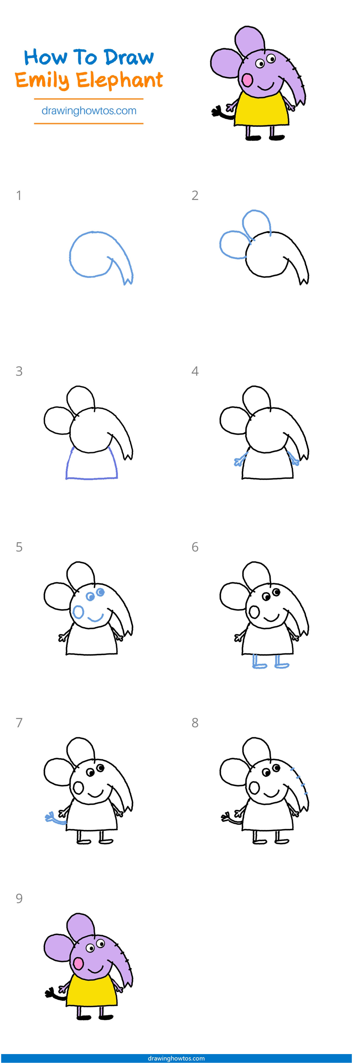 How To Draw Emily Elephant From Peppa Pig Step By Step Easy