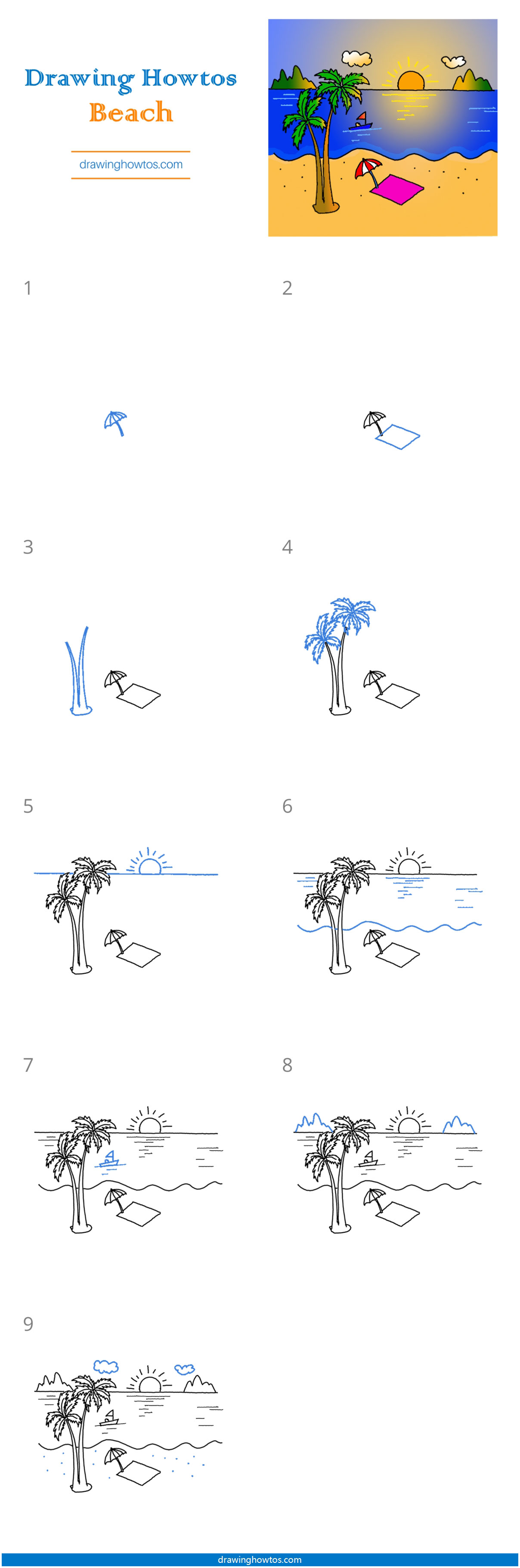 How To Draw A Beach Scene Step By Step Easy Drawing Guides Drawing Howtos