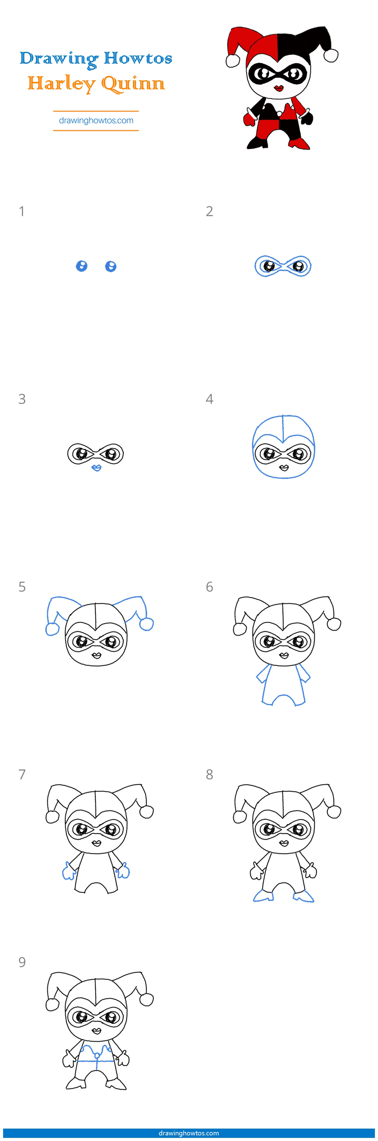 How To Draw Harley Quinn Step By Step Easy Drawing Guides Drawing Howtos