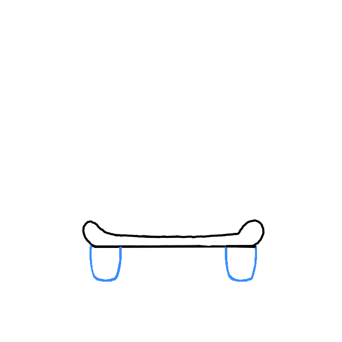 Draw two wheels with the U-shaped lines.