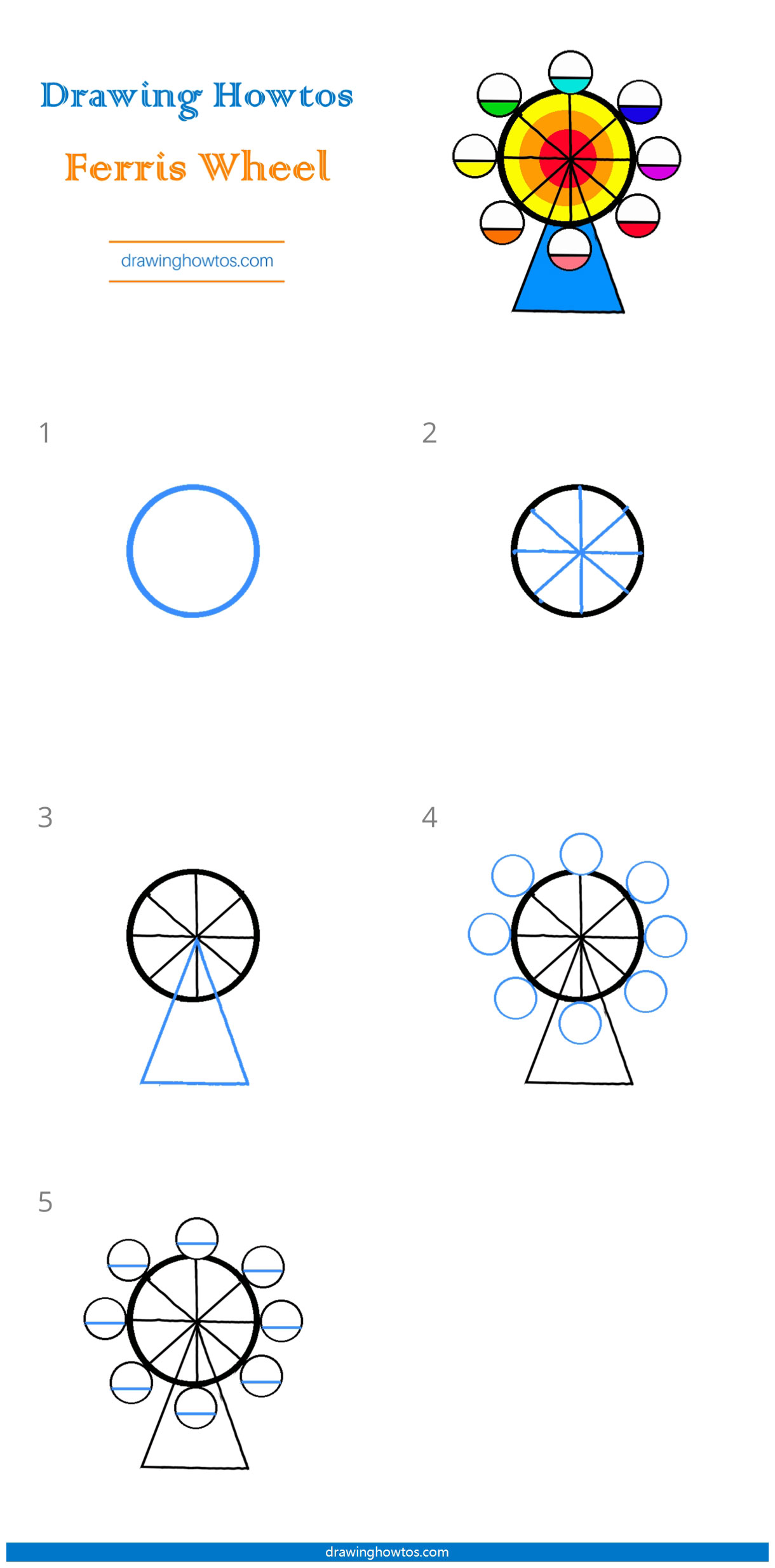 How To Draw A Ferris Wheel Step By Step Easy Drawing Guides Drawing Howtos