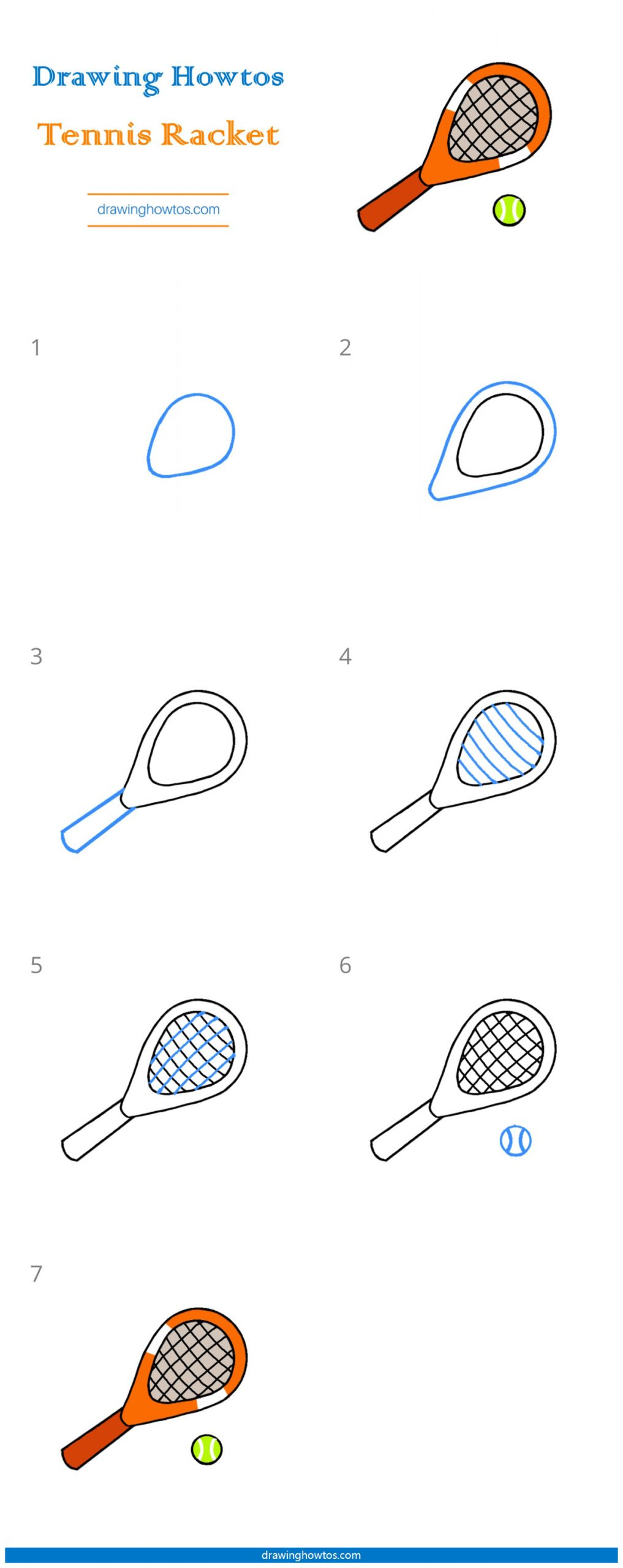 How To Draw A Tennis Racket Step By Step Easy Drawing Guides Drawing Howtos