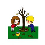 How to Draw an Arbor Day Scene of Kids Planting a Tree