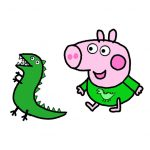 How to Draw George Pig and Mr. Dinosaur from Peppa Pig